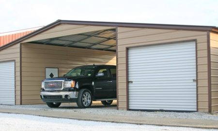 Carport with side garages